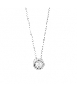 Necklace in White Gold 18 Carat With Diamond 0.25